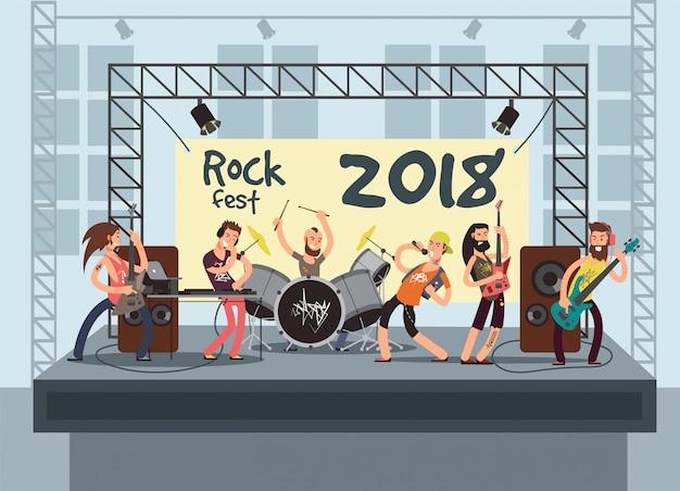 若いミュージシャンとのステージでの音楽パフォーマンス。ロックコンサート Premiumベクター