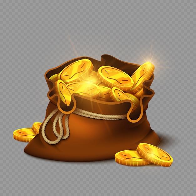Мультяшный большая старая сумка с золотыми монетами Premium векторы