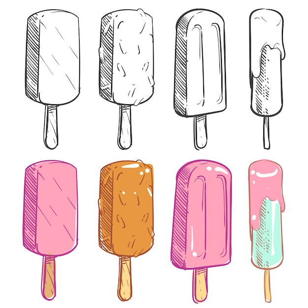 アイスクリームコレクションのスケッチと着色 Premiumベクター