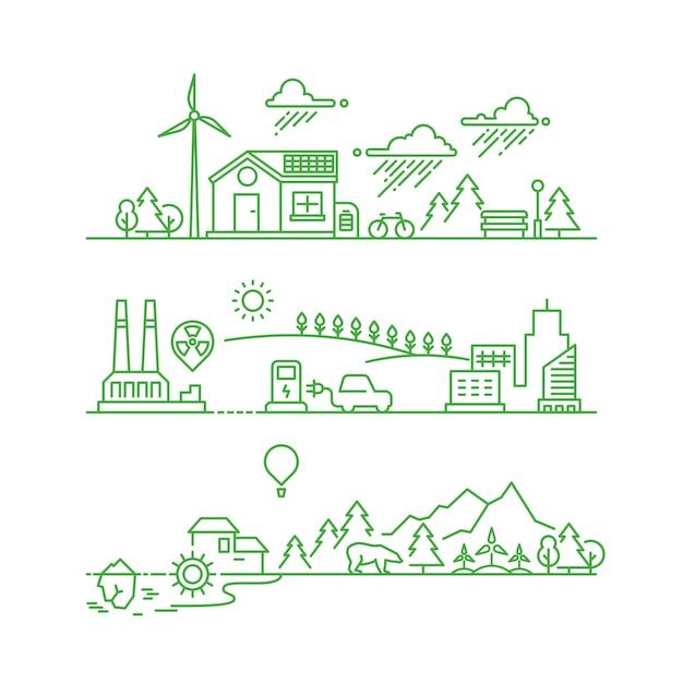エコシティ概要将来の生態学的な緑の環境と生態系のベクトルの概念 Premiumベクター