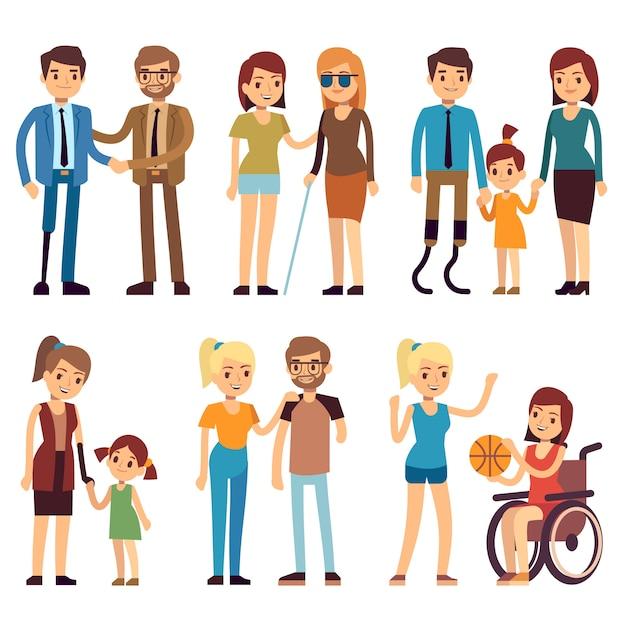 スポーツや社会活動で幸せな障害者。ベクトルフラット文字セット。車椅子の図で障害者 Premiumベクター