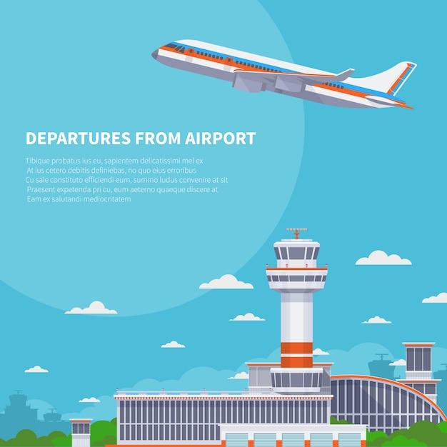 Взлет самолета на взлетно-посадочной полосы в международном аэропорту. туризм и воздушные путешествия векторный концепт. вылет самолета из международного терминала иллюстрации Premium векторы