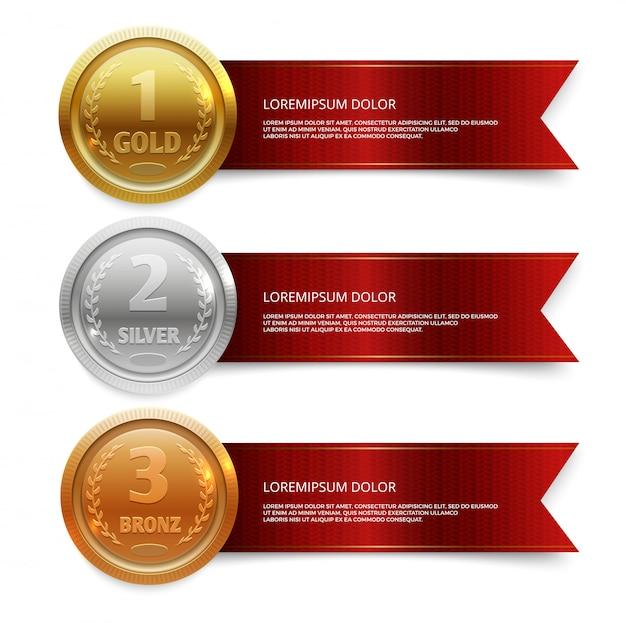 赤いリボンバナーテンプレートとチャンピオンの金、銀、銅メダル Premiumベクター