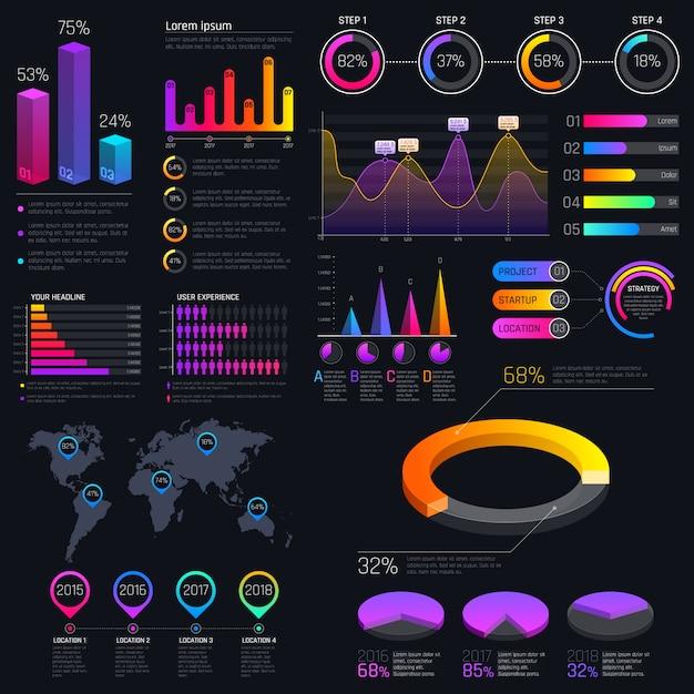 統計グラフと財務チャートのモダンなモダンなインフォグラフィックテンプレート。ダイアグラムテンプレートとチャートグラフ、グラフィック情報の視覚化 Premiumベクター