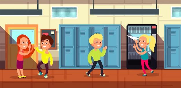 教室のドア漫画で学校の廊下で小学生 Premiumベクター