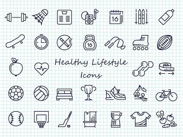 健康的なライフスタイルの概要アイコン - 大きなセットスポーツアイコン Premiumベクター
