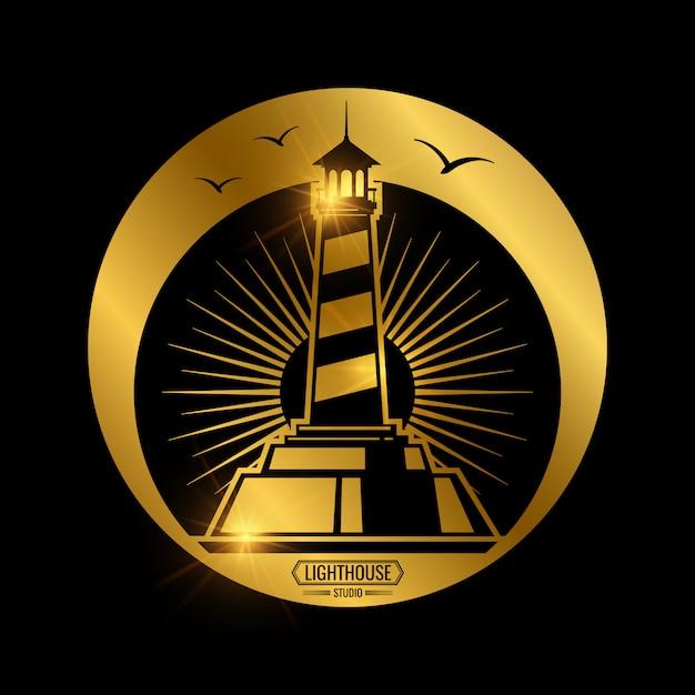 灯台とヴィンテージの航海ラベル Premiumベクター
