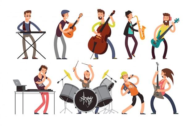 楽器とロックンロール音楽バンドの文字。 Premiumベクター