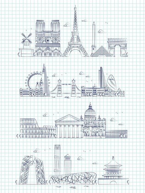 人気の単語都市概要ノートページのパノラマ Premiumベクター
