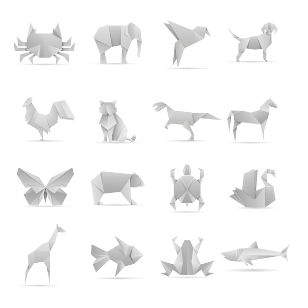 アジアのクリエイティブ折り紙動物コレクション Premiumベクター