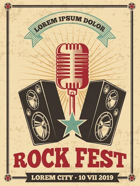 ロックフェスティバルのビンテージポスター。ロックンロールコンサートのレトロな背景。 Premiumベクター