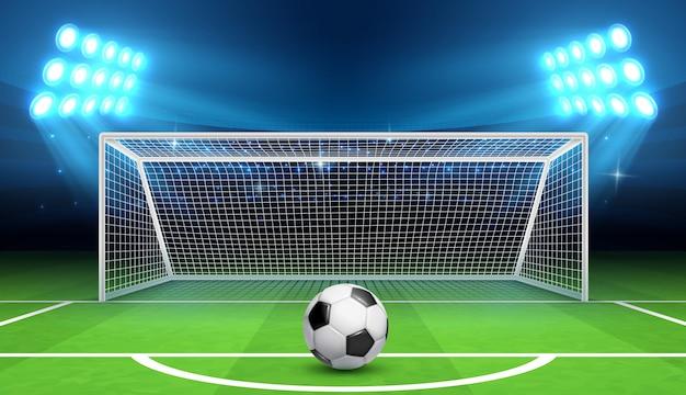 Футбол чемпионат фон с спортивный мяч и цели. Premium векторы