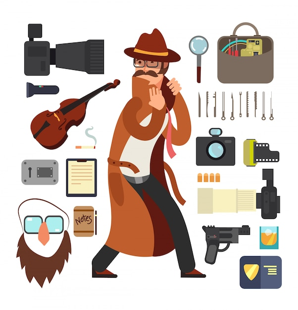 調査の概念の設定機器と漫画監視探偵 Premiumベクター