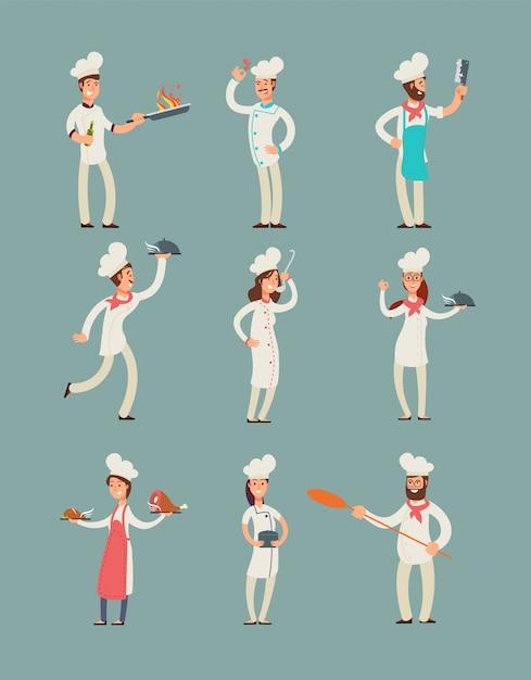 レストランのシェフの笑みを浮かべて、プロの料理人のキッチン制服漫画のキャラクターセット Premiumベクター