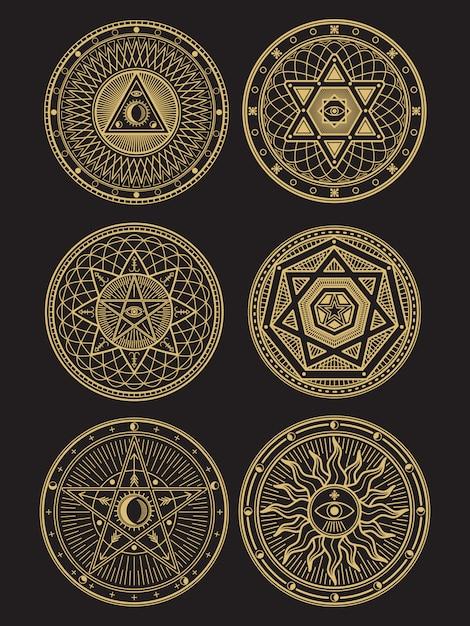 黄金のオカルト、神秘的な、精神的な、難解なシンボル Premiumベクター