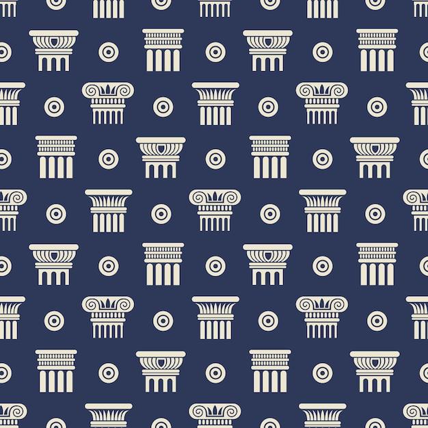 ギリシャとローマの古代の列のシームレスパターン Premiumベクター