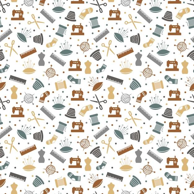 縫製または編み物のシームレスパターン Premiumベクター