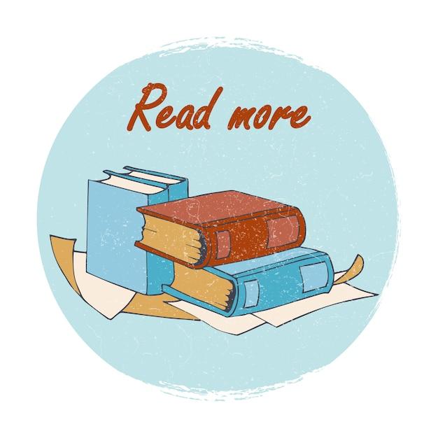 書店や図書館のエンブレム - もっと読むバナー Premiumベクター