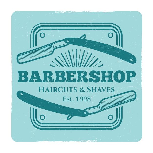 Парикмахерская или парикмахерская винтажная этикетка Premium векторы