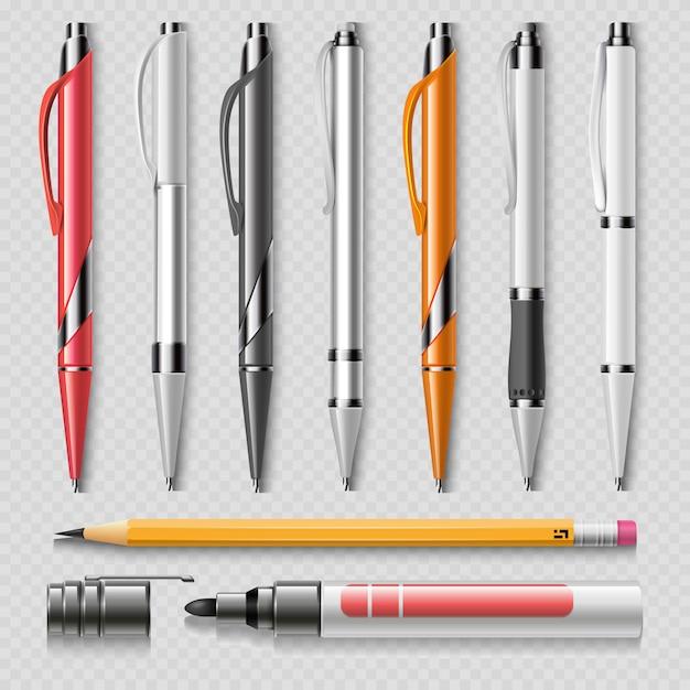 Реалистичные канцелярские принадлежности, изолированные на прозрачном фоне - ручки, карандаш и маркер реалистичные Premium векторы