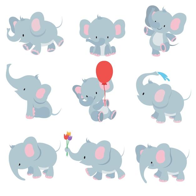 Милый мультфильм детские слоны. набор животных африканского сафари Premium векторы