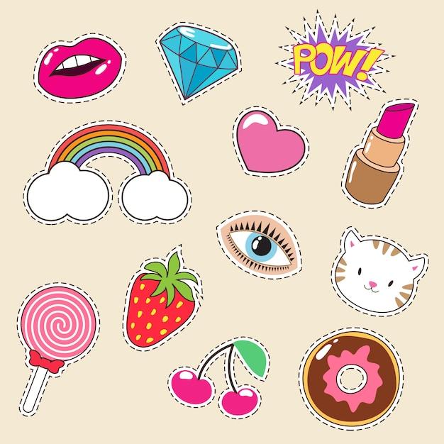 かわいいカラフルな女の子のファッションパッチ。口紅、虹、ダイヤモンド、ストロベリーのアイコン Premiumベクター
