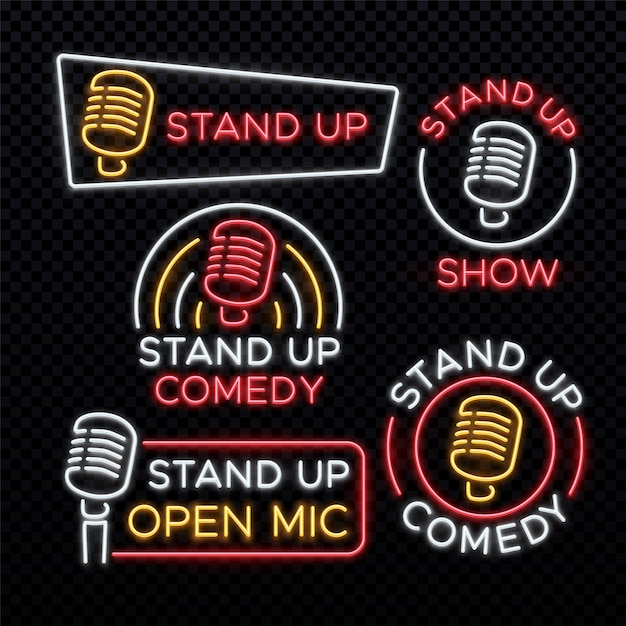 喜劇の明るいネオンサインを立ち上がる。コメディスタンドアップエンブレム Premiumベクター