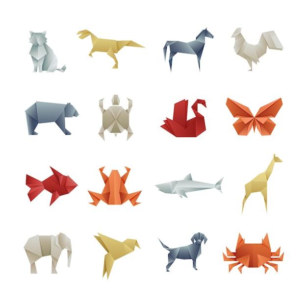 折り紙紙動物アジアの創造的なベクトルアート Premiumベクター