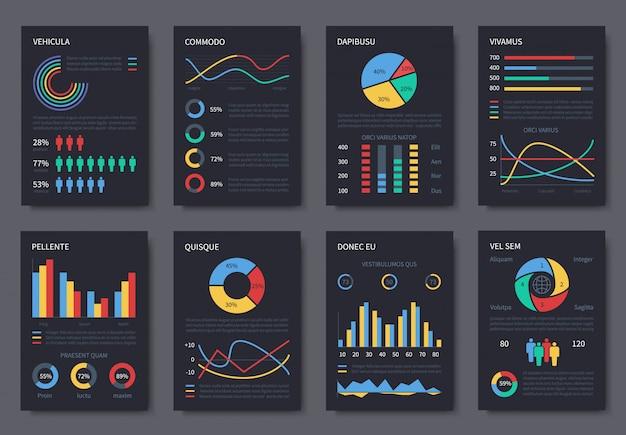 プレゼンテーション用の多目的ビジネスインフォグラフィックテンプレート。ダークページのチャート、ダイアグラム、インフォグラフィック要素 Premiumベクター