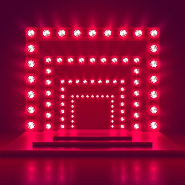 光のフレームの装飾とレトロなショーステージ。ゲーム勝者のカジノのベクトルの背景。輝きのカジノ表彰台イラストの照明 Premiumベクター