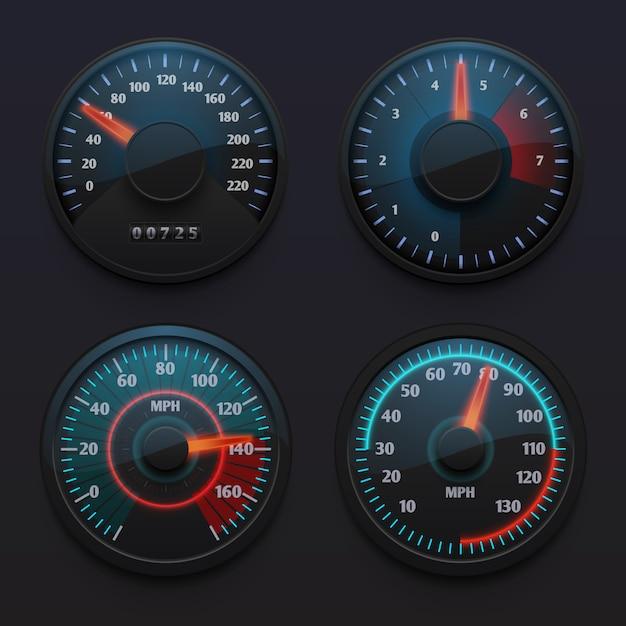 未来的な車のスピードメーター、車のダッシュボードのポインターを持つ速度インジケーター分離ベクトルを設定します。ダッシュボード、スピード測定ポインター上のスピードメーターのイラスト Premiumベクター