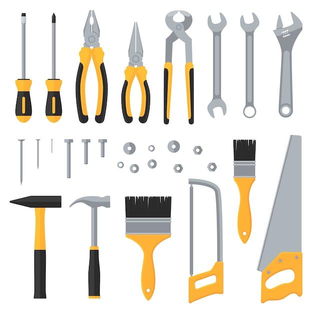 Строительное оборудование промышленные инструменты вектор плоские иконки Premium векторы
