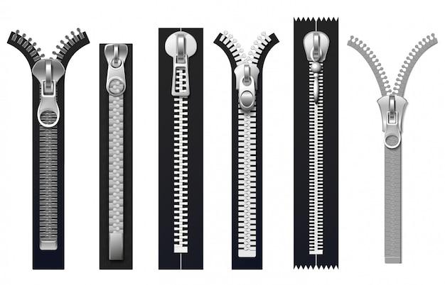 Застежки для одежды, металлические молнии изолированные комплект Premium векторы