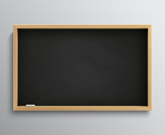 チョークの部分を持つ空白のレトロクラス黒板。教育理念のための空の黒い黒板ベクトルイラスト。学校用黒板、教室用黒板 Premiumベクター