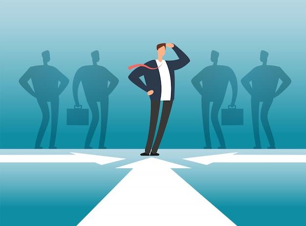 人々グループの影の前で実業家。従業員管理、チームワークとリーダーシップのベクトルの概念 Premiumベクター