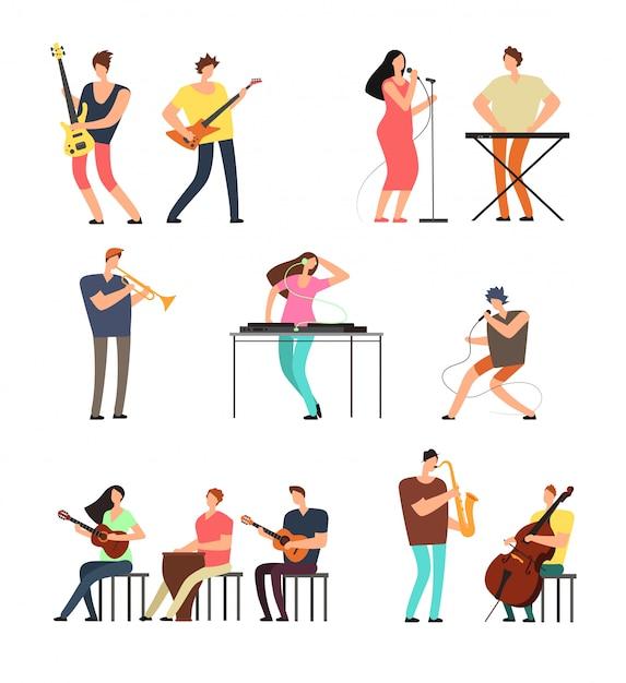 音楽を演奏する人。楽器を持つミュージシャン。分離されたベクトル漫画のキャラクター Premiumベクター