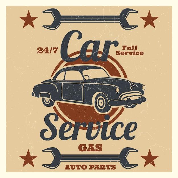 ビンテージカーサービスのロゴ - 自動車修理グランジ Premiumベクター