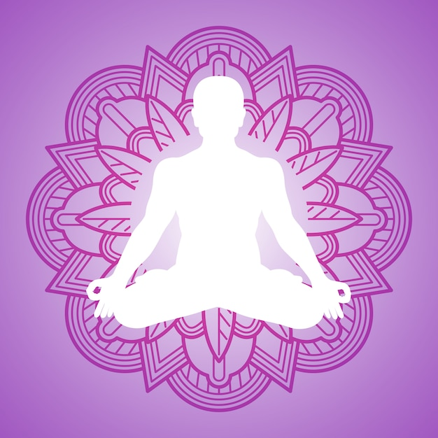 Медитация человек на рамке цветок мандалы. дизайн логотипа йоги Premium векторы