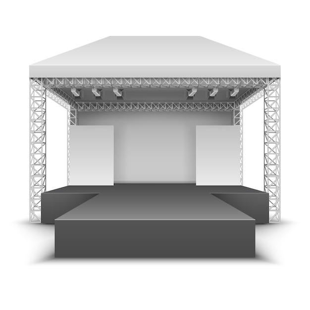 野外音楽祭の舞台。スポットライトとロックコンサートのシーンは、ベクトル図を分離しました。フェスティバルステージアウトドア、コンサートとパフォーマンスイベント Premiumベクター