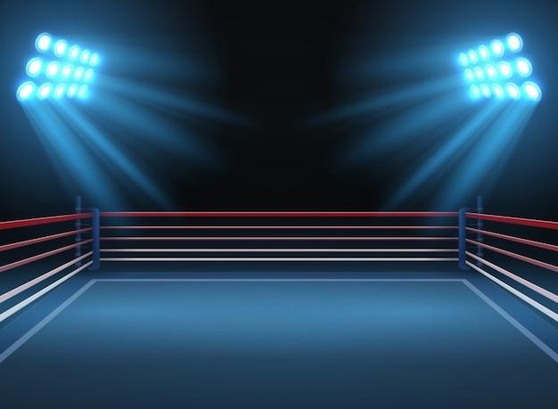 空のレスリングスポーツアリーナ。ボクシングのリング劇的なスポーツのベクトルの背景。レスリングとボクシングの競技場の図のスポーツ競技リング Premiumベクター