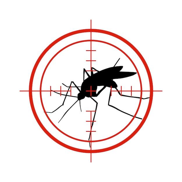 赤いターゲットの蚊。抗蚊、デング熱流行昆虫コントロールベクトルシンボル絶縁 Premiumベクター