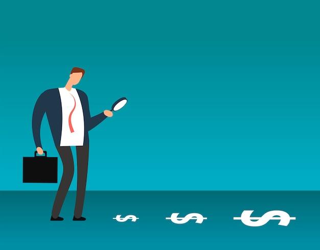 ドル記号を見て虫眼鏡を持ったビジネスマン。利益ビジネスベクトルの概念を検索 Premiumベクター