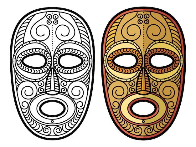 アフリカ、メキシコのアステカの部族マスク絶縁 Premiumベクター