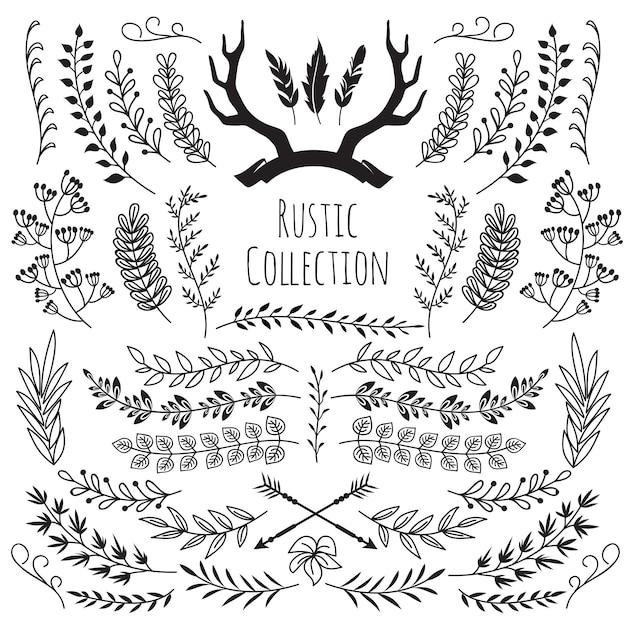 手描き下ろしビンテージ枝、花輪枠フレーム角、羽、矢印。素朴な花の装飾的な結婚式のベクトル Premiumベクター