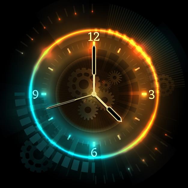 ネオン効果を備えたデジタル未来時計。時計と時間抽象的なベクトルの概念。時間ネオン時計、抽象的なイラストを見る Premiumベクター