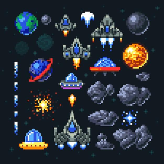 レトロスペースアーケードゲームのピクセル要素。 Premiumベクター