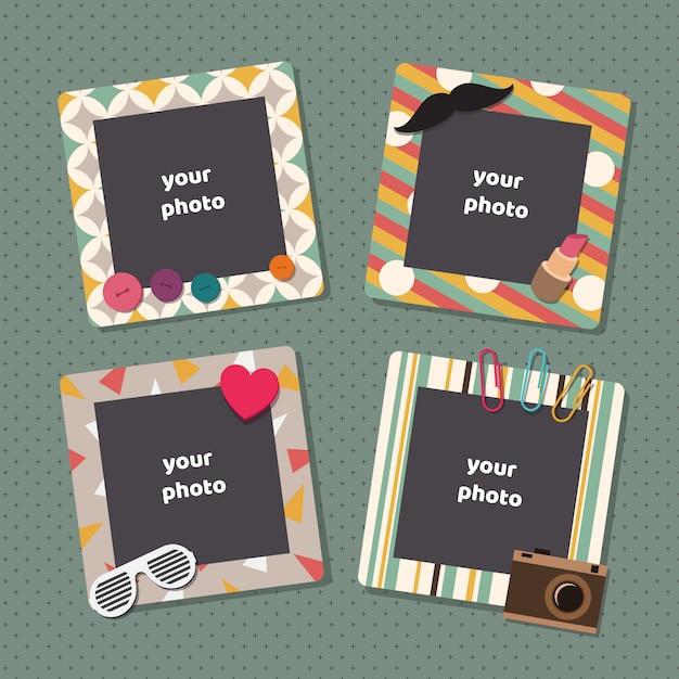 Винтажные рамки для фотографий записки Premium векторы