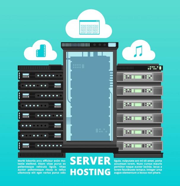 ウェブサイトクラウドホスティング、デジタルデータストレージおよびコンピュータサーバーサポート Premiumベクター
