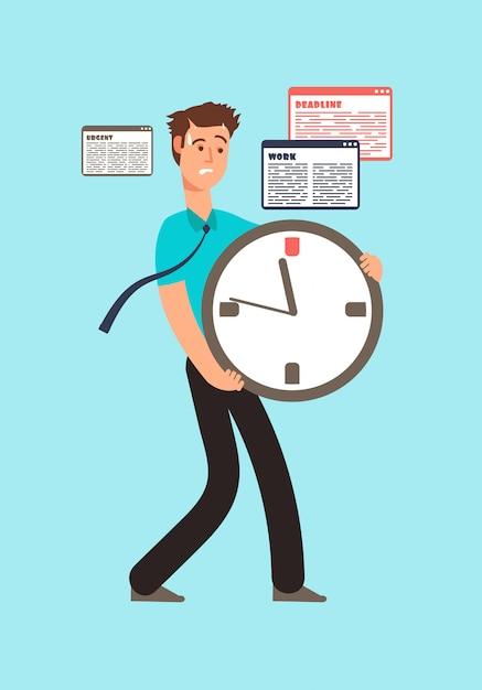 時間を使い果たして時計を保持している労働者を強調しました。 Premiumベクター