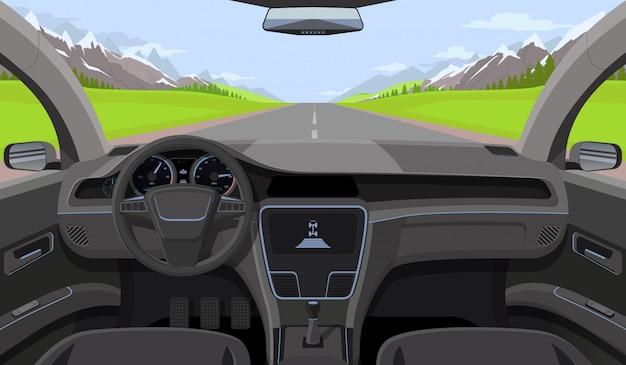 舵と車の運転手ビューの内側 Premiumベクター